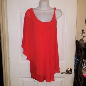 Bebe Red Coral Orange Off Shoulder Dress